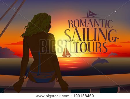 Romantic tours design concept with pretty woman silhouette and dolphins at sunset, raster version