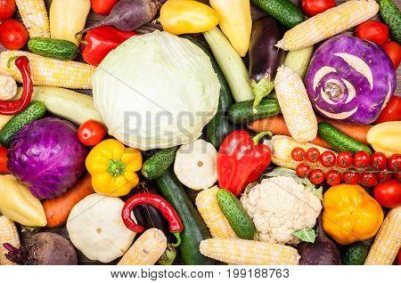 Vegetables background. Healthy eating diet vegetarian food concept. Assortment of vegetables top view