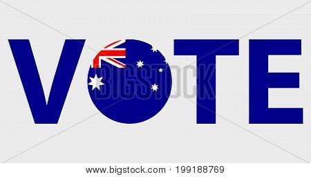 Voting Symbols vector design. template Elections icons. check marks. Patriotic voting poster. Presidential election in Australia. Typographic banner with round flag of the Australia.