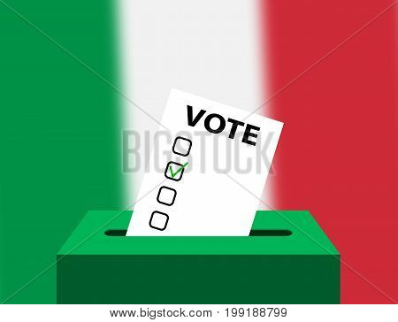 Voting Concept Urns for voting with the national flag of Italy in the background. Box for votes and checking blank. Italy Editable voting box and flag. Elections in Italy ballot box.