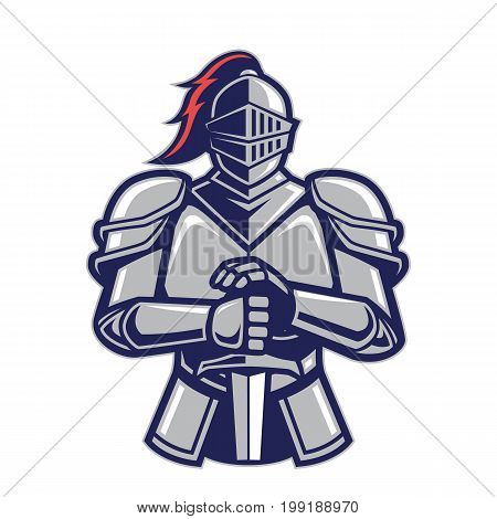 Clipart picture of a warrior knight cartoon mascot logo character