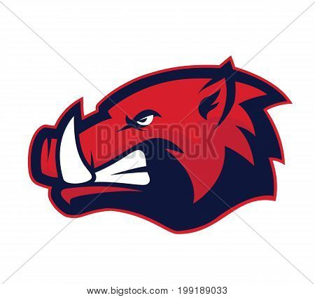 Clipart picture of a wild hog or boar head cartoon mascot logo character