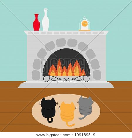 Three kittens on carpet rug looking to Fireplace with vase set and clock. Little cat family. Pet animal collection. Cute cartoon funny character. Flat design. Blue background Vector illustration