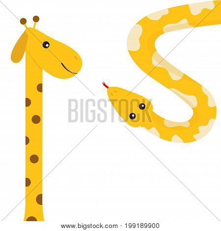 Giraffe with round spot. Long neck. Yellow python snake red tongue. Crawling serpent. Zoo animal friends. Cute cartoon funny card for kids. Isolated. White background Flat design. Vector illustration