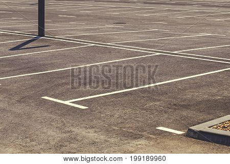 Empty Parking Lot With Marked Parking Field