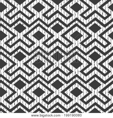 Maze tangled lines contemporary graphic. Abstract geometric background design.Black and white
