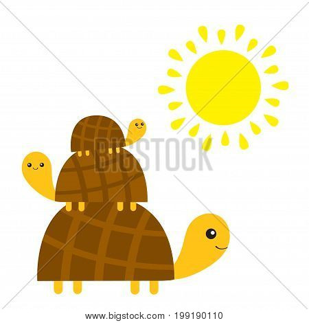 Three turtle tortoise pyramid. Yellow sun. Cute cartoon character family set. Father mother baby. Pet animal collection. Education cards for kids. White background. Isolated. Flat design Vector