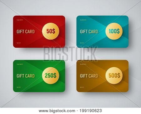 Templates Of Gift Cards With A Gold Circle For Face Value