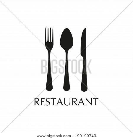 Spoon fork and knife flat icons. Restaurant emblem template. Kitchen utensils. Vector illustration.