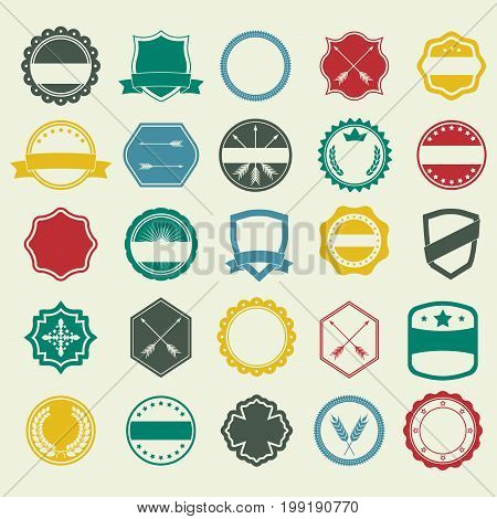 Emblem and labels set. Flat badges banners shields emblems typography frames arrow borders ribbons and stamps. Colorful vector design elements.