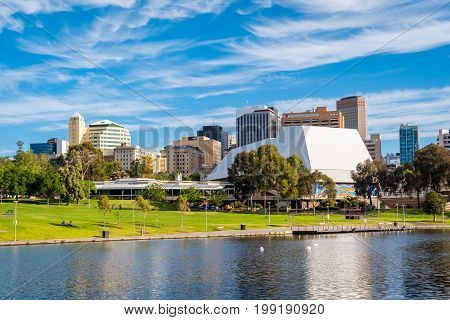 Adelaide Australia - December 2 2016: Adelaide city skyline on a day viewed through Torrens river in Elder Park on a bright day