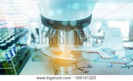 The Scientific microscope in laboratory. (microscope biotechnology bacteria)