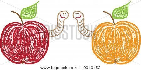 Apples And Funny Worms