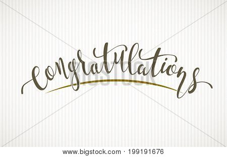 Congratulations. Vector lettering on light background. Eps8. RGB Global colors