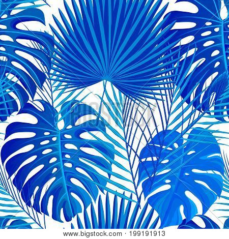 Seamless pattern with blue white colored tropical exotic palm leaves background. Fabric, wrapping paper print. Vector illustration stock vector.