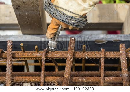Pincers And Steel Wire Fixing Rebar