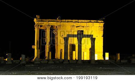 Ruins of Baalshamin temple in Palmyra ancient city. destroyed by ISIS now Syria