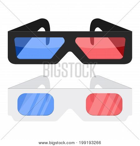 3d cinema glasses icon isolated on white background Design black and white 3D cinema glasses for movies.