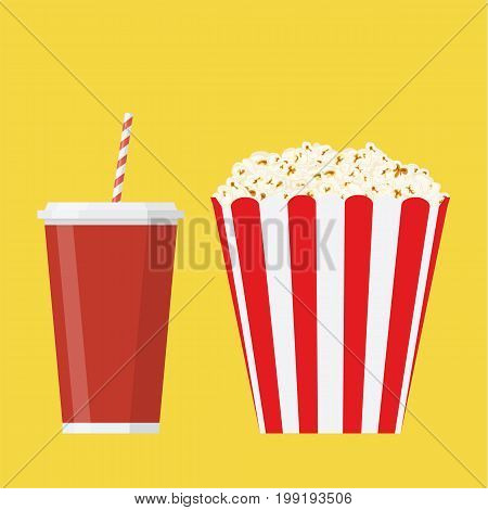 bowl full of popcorn and paper glass of drink soda. Popcorn in cardboard box. Vector illustration in flat style