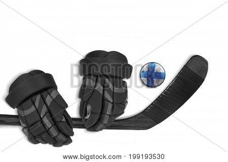 Finnish hockey puck stick and gloves on a white background. Concept hockey