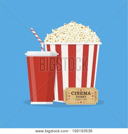 Popcorn striped bucket with cup of soda and cinema ticket. Vector illustration in flat style