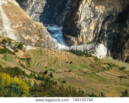 Tiger Leaping Gorge Yunnan in China canyon of Jinsha River