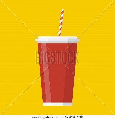 Soda paper cup icon. Cool drink concept icon. Vector illustration in flat style