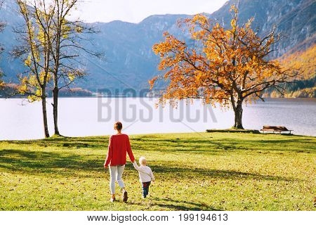 Family On The Lake Bohinj, Slovenia, Europe