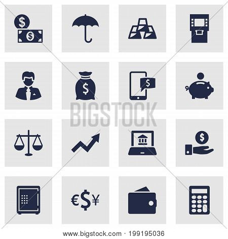 Collection Of Piggy Bank, Online Banking, Strongbox And Other Elements.  Set Of 16 Finance Icons Set.