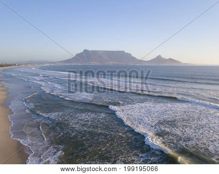 View across the ocean to Table Mountain Cape Town South Africa