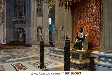 VATICAN CITY VATICAN - OCTOBER 18 2016: Interior of the famous St Peter's basilica. It is an Italian Renaissance church in Vatican City the papal enclave within the city of Rome.