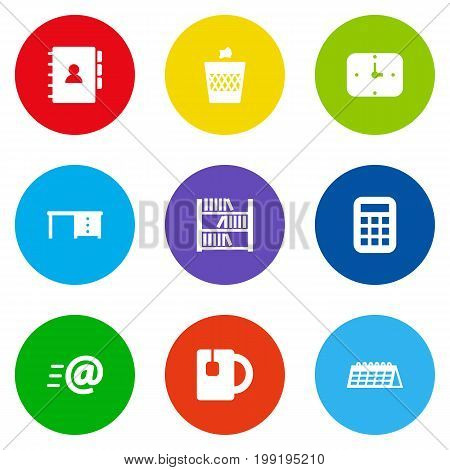Collection Of Book, Calculate, Time And Other Elements.  Set Of 9 Office Icons Set.