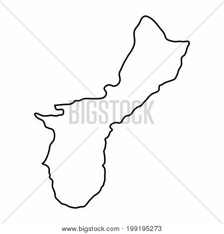 Territory of Guam map of black contour curves of vector illustration