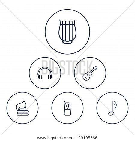 Collection Of Acoustic, Vinyl, Musical Sign And Other Elements.  Set Of 6 Music Outline Icons Set.