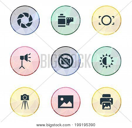 Elements Lens, Brilliance, Photograph And Other Synonyms Picture, Photographing And Lens.  Vector Illustration Set Of Simple Photographic Icons. poster