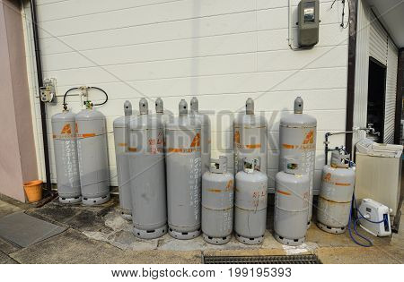 Fuel-gas Cylinders At A Small Village In Katsuura, Japan