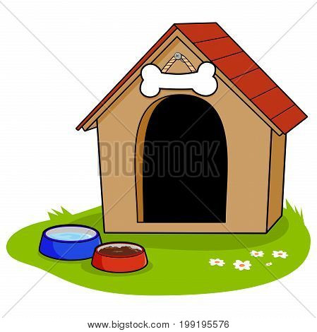 A doghouse and bowls of water and dog food.