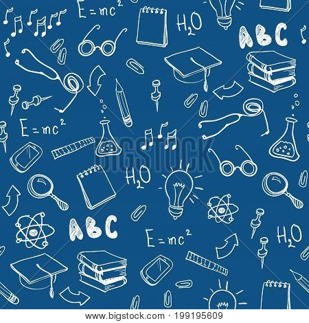 Seamless pattern with school elements. Welcome back to school with modern thin line icons school supplies. Super sale doodles. Vector illustration stock vector.