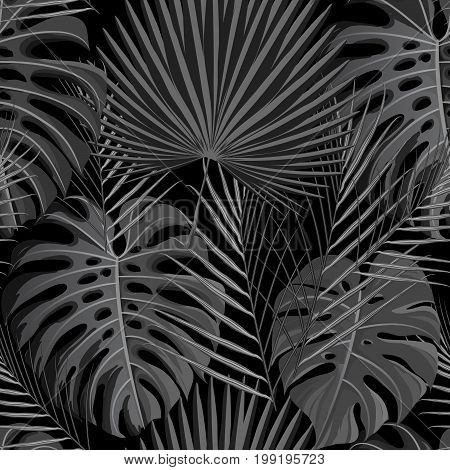 Seamless pattern with gray black grayscale colored tropical exotic palm leaves background. Fabric, wrapping paper print. Vector illustration stock vector.