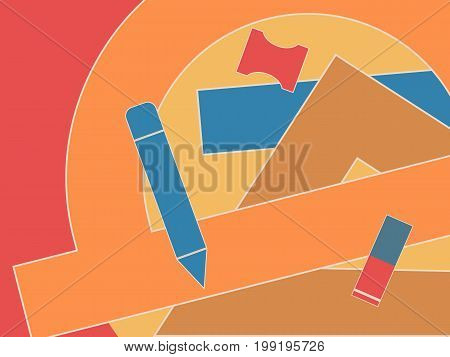 School geometric pattern. Drawing background with measuring tools for kids school textile covers bookstore equipment surface Vector illustration.
