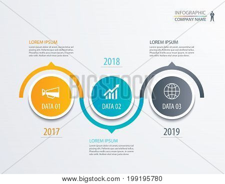 3 circle timeline infographic template business concept background. Vector can be used for workflow layout diagram number step up options web design annual report