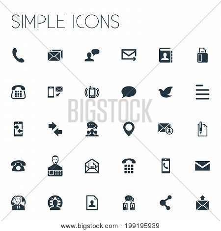 Elements Pin, Resume, New-Come Letter And Other Synonyms Pin, Home And Fax.  Vector Illustration Set Of Simple Contact Icons.