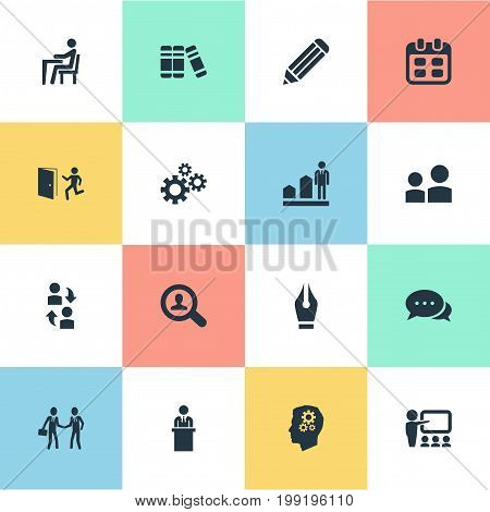 Elements Interaction, Take On Worker, Pen Nib And Other Synonyms Employment, Gear And Coach.  Vector Illustration Set Of Simple  Icons.