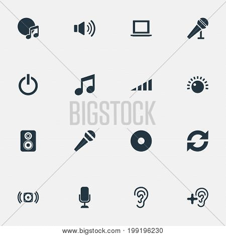 Elements Scale, Sound, Loudspeaker And Other Synonyms Laptop, Wave And Album.  Vector Illustration Set Of Simple Dj Icons.