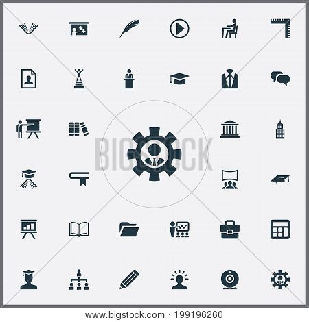 Elements Employee, Training, Archive And Other Synonyms Office, Training And Elegant.  Vector Illustration Set Of Simple Speaker Icons.