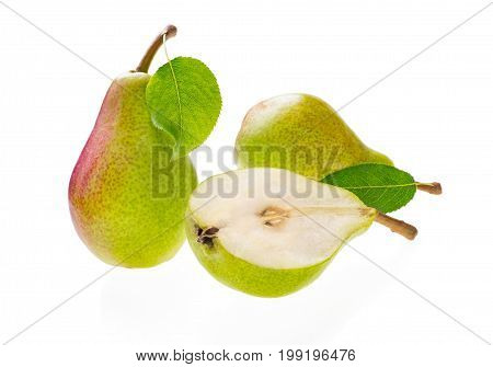 Group of delicious fruits red and green ripe pears with one pear half. Isolated on white