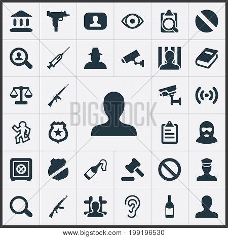 Elements Safety, Justice, Violence And Other Synonyms Look, Solider And Library.  Vector Illustration Set Of Simple Offense Icons.