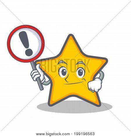 Bring sign star character cartoon style vector illustration