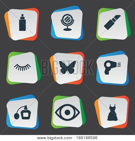 Elements Dress, Blow Dryer, Reflection And Other Synonyms Fragrance, Dress And Tool.  Vector Illustration Set Of Simple Cosmetics Icons.