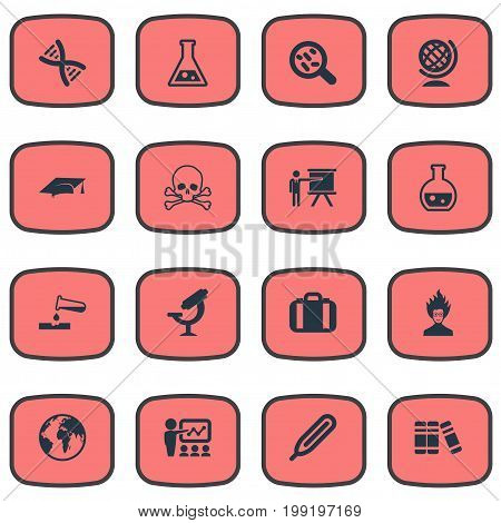 Elements Geography, Pharmacology, Graduation Hat And Other Synonyms Reaction, Scientist And Measurement.  Vector Illustration Set Of Simple Study Icons.